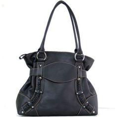 Women designer inspired soft shoulder bag purses black