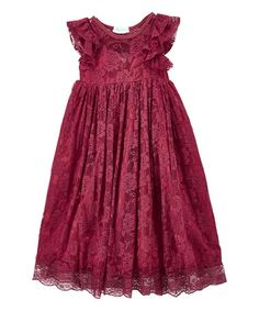 Look what I found on #zulily! Wine Lace-Overlay Flutter Sleeve Gown - Infant, Toddler & Girls #zulilyfinds