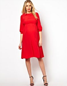 $40 ASOS Maternity Midi Dress With Tab Side for Holidays