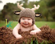 Deer Hat Crochet Deer hat Buck Hat Newborn Boy by CatilyCrochet, $21.00