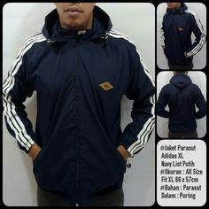 Jaket Parasut Adidas  Bahan Parasut Bahan Dalam Puring Ukuran : All Size Fit XL (66 cm x 57 cm)
