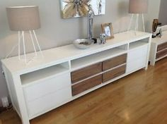 White Entertainment Unit - With timber drawers - FRENCH HAMPTONS BEACH HOUSE