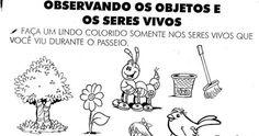 Atividades com Desenhos sobre os Seres Vivos - Alfabetização Infantil Atividades sobre os Seres Vivos e Seres Não Vivos Pinte Somente o…
