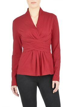 ec70b122314 I  lt 3 this Pleated surplice cotton jersey top from eShakti Peplum Blouse