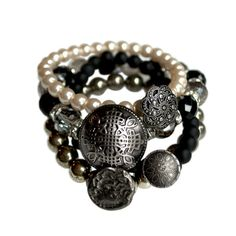 Black and Silver stackings bracelets