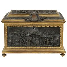 Antique Bronze Jewelry Box Casket, Mappin Webb (London, est.1810)
