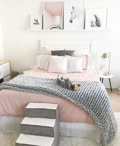 Pastel pink and grey girls bedroom