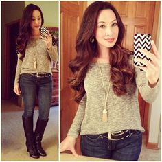 Penelope Ann Style and a good hair day! Love Culture Sweater, Gap Denim, Frye Boots, Chevron Phone Case, Tassel Necklace