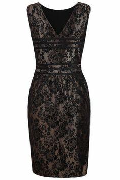 Black V Neck Sleeveless Embroidered Dress
