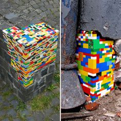 We may just think of them as the best toys ever created, but the signature street art from Jan Vormann imagines LEGOs as the rebuilding blocks for crumbling ancient cities. Jan's Dispatchwork project uses LEGOs as patches for damaged buildings across European city centers. He's been fine tuning these pieces for several years now, but the juxtaposition of the bright brick colors against the faded gray architecture keeps the work whimsical