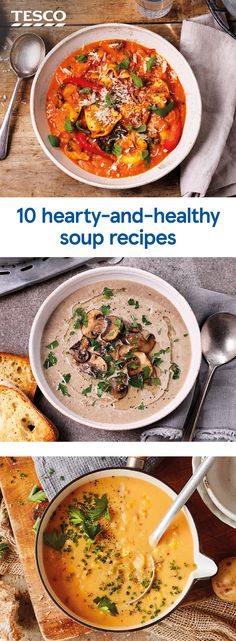 Warm up your winter weeknights with one of these hearty soups. Brimming with flavour and fresh veg these satisfying soups are perfect for filling up and keeping fuelled in chilly weather. Slimming World Soup Recipes, Healthy Soup Recipes, Veggie Recipes, Beef Recipes, Vegetarian Recipes, Cooking Recipes, Healthy Hearty Soup, Detox Recipes, Healthy Lunches For Work