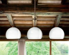 Farmacia is a three light aged brass pendant with round blown milk glass shades. Lighting Showroom, Interior Lighting, Cool Lighting, Pendant Lighting, Aldo, Ceramic Pendant, Murano Glass, Glass Shades, Ceiling Lights