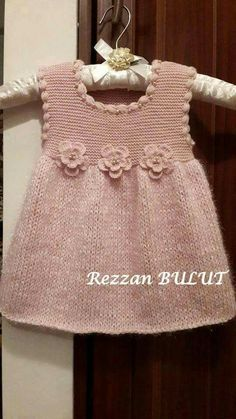 "diy_crafts- ""Knit dress - simple, sweet, lovely ~~ Garter bodice, stockinett skirt, finished with crochet puff stitch edging and 3 crochet flow Knitting Baby Girl, Knitting For Kids, Crochet Baby, Knit Crochet, Knitted Baby, Baby Knits, Girls Knitted Dress, Knit Baby Dress, Baby Dress Patterns"
