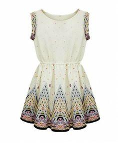 Floral Print Elastic Waist Sleeveless Dress - Dresses - Clothing