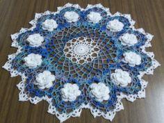 New Handmade Crochet Doily Ocean Blue White Roses 15 inch Crochet Doily Rug, Crochet Tablecloth, Thread Crochet, Blue And White Roses, Diy And Crafts, Arts And Crafts, Lace Art, Crochet Designs, Crochet Ideas