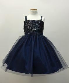 Navy Sequin Overlay Dress - Toddler & Girls #zulily #zulilyfinds