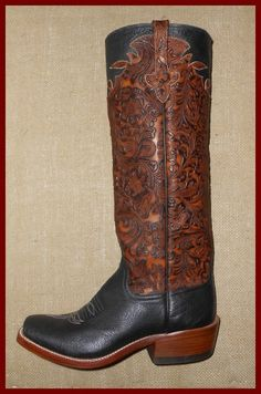 Black smooth Ostrich with leather tooling. Rios of Mercedes cowboy boot available at Davis Boots.