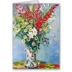 SOLD! - Bouquet of Gadiolas Lilies and Dasies Claude Monet Card