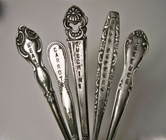 Vintage Charm  Silverware garden marker  SET of 5  by CambriaLaine, $18.75