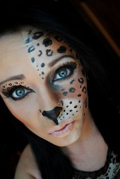 Sweet cheetah makeup! Definitely going to do this for Halloween ...