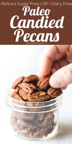 Paleo Candied Pecans - refined sugar free and sweetened with coconut sugar and maple syrup! Great on salads, as a snack or to give as a gift. I would add cinnamon. Pecan Recipes, Coconut Recipes, Snack Recipes, Paleo Recipes, Free Recipes, Candy Recipes, Candied Almonds, Roasted Pecans, Paleo Sweets