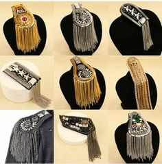 Cheap mens suit accessories, Buy Quality shoulder epaulettes directly from China suit accessories Suppliers: Blazer epaulet /kpop handmade fringed/tassel metal punk shoulder epaulette/spikes brooch women men suit accessories/wholesale Diy Fashion, Ideias Fashion, Luxury Fashion, Fashion Jewelry, Womens Fashion, Fashion Design, Suit Accessories, Jewelry Accessories, Discount Jewelry