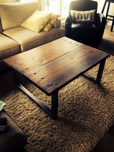 Client supplied some old mexican church pews and I converted them into this coffee table BirdmanTheWelder