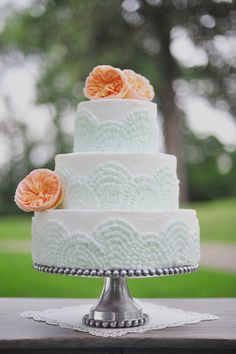 Creamsicle + Mint #WeddingCake I Christa Elyce Photography I http://www.weddingwire.com/biz/christa-elyce-photography-humble/portfolio/e273d8845650458f.html?page=3#vendor-storefront-content