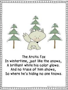 Arctic Animals Poems by Creative Lesson Cafe Winter Crafts For Toddlers, Winter Activities, Arctic Fox Habitat, Fox Quotes, Animal Poems, Artic Animals, Fox Crafts, Winter Songs, Kids Poems