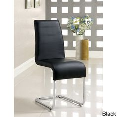 @Overstock.com - Move right on in to the next century when you update your space with these leather upholstered dining chairs featuring a sleek chrome base and modern black upholstery. This set of four chairs will immediately elevate your dining space to a new level.http://www.overstock.com/Home-Garden/Enitial-Lab-Alta-Leatherette-Dining-Chairs-Set-of-4/6521243/product.html?CID=214117 $387.99