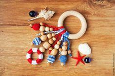Развивающие игрушки ручной работы. Ярмарка Мастеров - ручная работа. Купить Прорезыватель-кольцо - первая игрушка в морском стиле. Handmade.