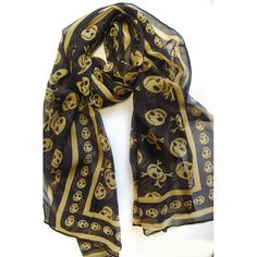 Designer Silky Chiffon skull scarf- gold Available from www.skullaccessories.co.uk