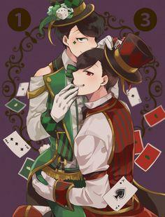 Osomatsu-san - Choromatsu x Osomatsu Matsuno - OsoChoro Mad Hatter Anime, Anime Circus, Osomatsu San Doujinshi, Ichimatsu, Haikyuu Anime, Anime Guys, Otaku, Religion, Kawaii