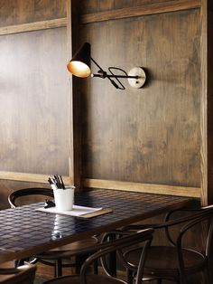 oh dang classy NYC tiles, chairs and lights go well with brick Cafe Bar, Cafe Bistro, Bar Restaurant, Restaurant Design, Restaurant Interiors, Restaurant Seating, Restaurant Lighting, Design Café, Cafe Design