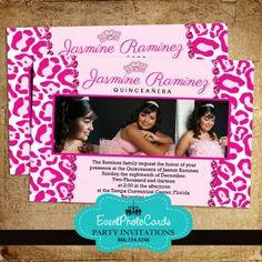Pink Jewel Princess Quinceanera Invites