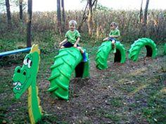 Réutilisation d'un pneu agricole pour la création d'un module de jeu amusant.