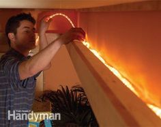 How to Build a Soffit Box with Recessed Lighting: Add interest to a bedroom or kitchen by building a soffit with drywall, wood trim and rope lights.  Read more: http://www.familyhandyman.com/electrical/home-lighting/how-to-build-a-soffit-box-with-recessed-lighting/view-all