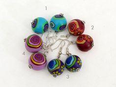 earring fimo beads, snails, Verrückte Schnecken Polymer clay Ohrpendel mit von polymerdesign on etsy