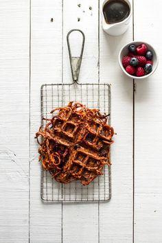 Are you curious why this sweet potato waffle looks like I waffled orange spaghetti? Sweet Potato Waffles, Sweet Potato Pecan, Pancakes And Waffles, Clean Eating Breakfast, Power Breakfast, Delicious Breakfast Recipes, Yummy Food, Humble Potato, Waffle Maker Recipes