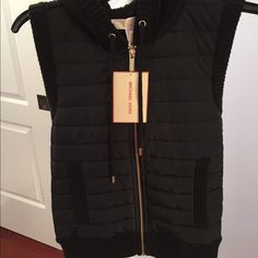 Hooded black vest small FINAL DROP Michael Kors Net hooded black vest sweater material in back... Small...Must Have!!! MICHAEL Michael Kors Jackets & Coats Vests