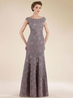 ffb15247051 Trumpet-Mermaid Off The Shoulder Sweep-Brush Train Lace Flint Gray  Sleeveless Zipper Mother Of The Bride Dress 1919
