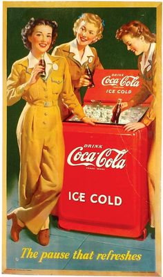 vintage coke signs | Coca-Cola cardboard sign, c.1943, 3 girls in unif