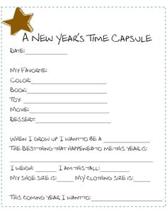 2 New Years Looking Back at the Year Printables to choose from- Print out 5, place them in the reusable time capsule and your set for years to come. Do you do a time capsule type of activity with you kids? I just started this year!