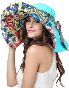 Womens Folding Big Floppy Brim Sun Protective Reversible Beach Hat Visor  UPF 50 Sun Visor Hat 6a6d2b8f931d