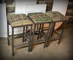 I like the idea of using coffee sacks to upholster bar stools. Industrial Furniture, Diy Furniture, Plywood Furniture, Modern Furniture, Furniture Design, Coffee Sacks, Burlap Coffee Bags, My Coffee Shop, Burlap Sacks