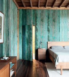 Green Paint-Washed Bedroom in Beijing, Remodelista Casa Do Rio, Paneled Walls, Plank Walls, Blue Wood Stain, Color Washed Wood, Watercolor Wood, Hello Walls, Distressed Wood Wall, Turquoise Room