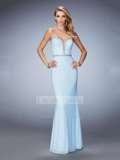 Elegant Plunging Sweetheart Beaded Neckline and Waistband Prom Dress PD12251