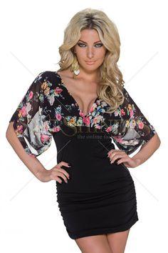 Flowered Cleavage Black Dress