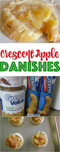 Crescent Apple Danishes recipe from The Country Cook (Apple Recipes Easy) Easy Desserts, Delicious Desserts, Yummy Food, Health Desserts, Health Appetizers, Trifle Desserts, Breakfast Pastries, Breakfast Dishes, Breakfast Recipes