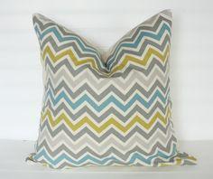 Gray Blue and Citrine Chevron Pillow Cover